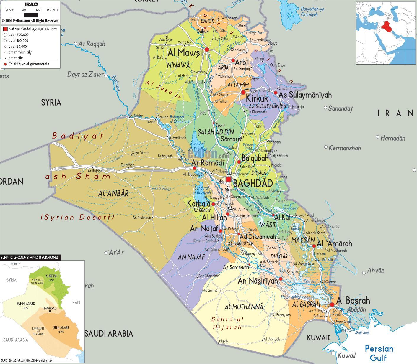 Irak Kartta Irakin Kaupungeissa Kartta Lansi Aasia Aasia